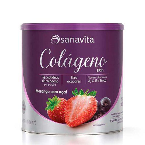 colágeno skin morango com açaí sanavita