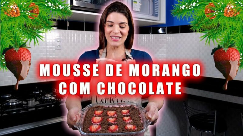 Sobremesa Maravilhosa de Mousse de Morango com Chocolate